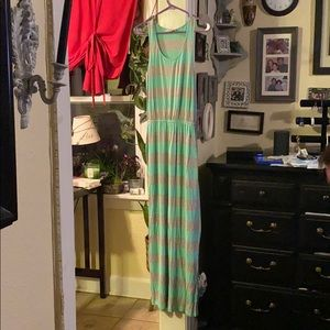 Gray and turquoise maxi dress